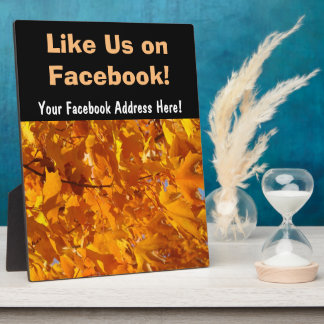 Like Us on Facebook sign Counter Plaque Leaves