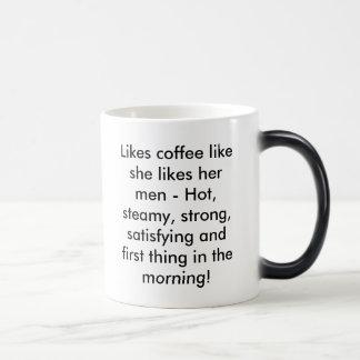 Likes coffee like she likes her men - Hot, stea... Mugs