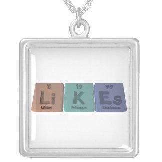 Likes-Li-K-Es-Lithium-Potassium-Einsteinium.png Square Pendant Necklace