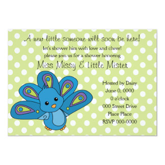 Lil' Baby Peacock 5x7 Paper Invitation Card