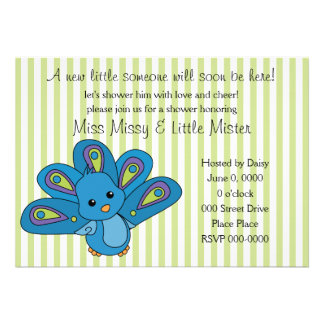 Lil' Baby Peacock Personalized Announcements