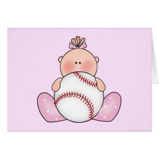 Lil Baseball Baby Girl Card