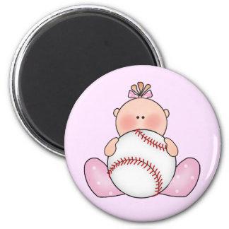 Lil Baseball Baby Girl 2 Inch Round Magnet