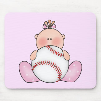 Lil Baseball Baby Girl Mouse Pads
