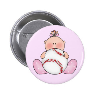 Lil Baseball Baby Girl Pinback Button