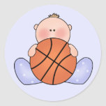 Lil Basketball Baby Boy Classic Round Sticker