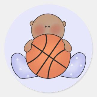 Lil Basketball Baby Boy - Ethnic Round Stickers