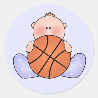 Lil Basketball Baby Boy Round Stickers