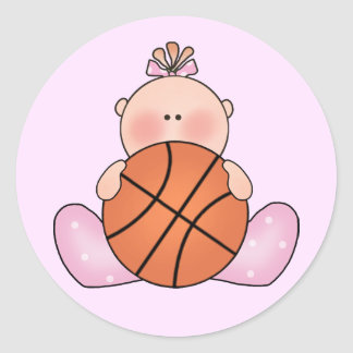 Lil Basketball Baby Girl Classic Round Sticker