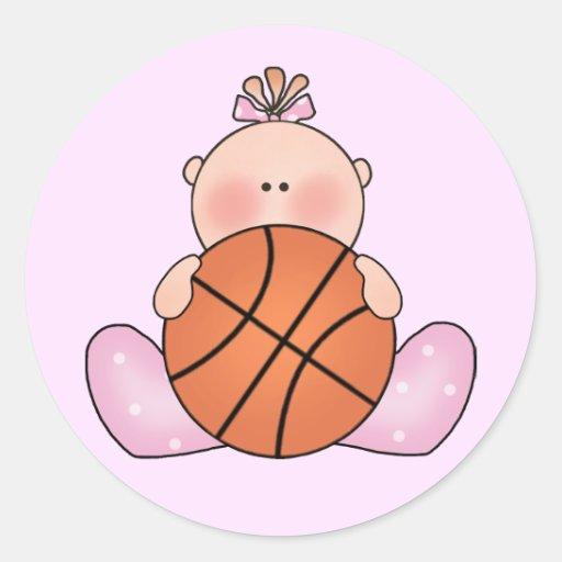 Lil Basketball Baby Girl Classic Round Sticker