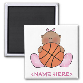 Lil Basketball Baby Girl - Ethnic 2 Inch Square Magnet