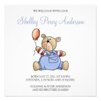 Lil' Bears · Baby Boy Balloon Custom Announcements