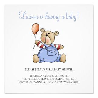 Lil' Bears · Baby Boy Balloon Invitations