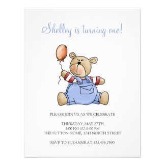 Lil' Bears · Baby Boy Balloon Personalized Invites