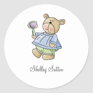 Lil' Bears · Baby Boy Blue & Green Pyjamas Classic Round Sticker