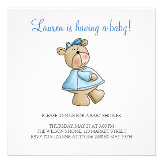 Lil' Bears · Baby Boy Blue Shirt Personalized Invite