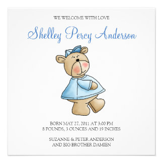 Lil' Bears · Baby Boy Blue Shirt Personalized Announcements