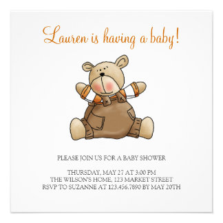 Lil' Bears · Baby Boy Brown Romper Personalized Invitation