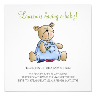 Lil' Bears · Baby Boy Crayons Personalized Invites