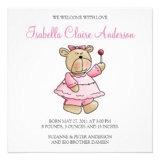 Lil' Bears · Baby Girl Pink Dress Custom Invites