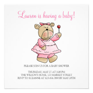 Lil' Bears · Baby Girl Pink Dress Invites