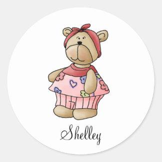 Lil' Bears · Baby Girl Pink Pyjamas Classic Round Sticker
