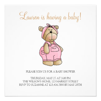 Lil' Bears · Baby Girl Pink Romper Announcements