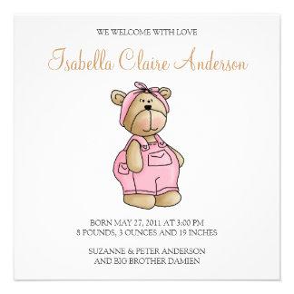 Lil' Bears · Baby Girl Pink Romper Custom Invites