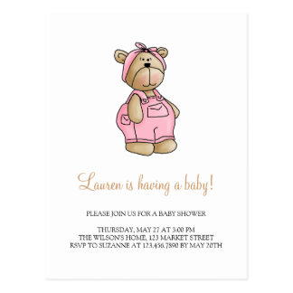Lil' Bears · Baby Girl Pink Romper Postcard