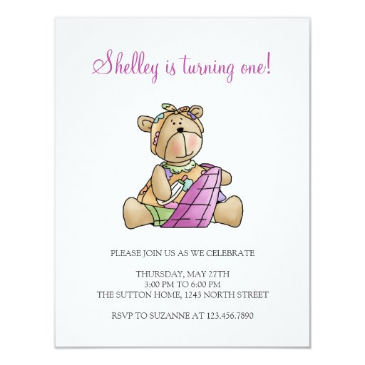 Lil' Bears · Baby Girl Purple Blanket Personalized Invites