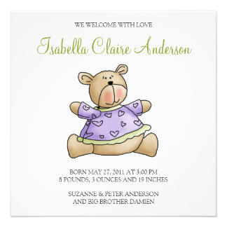 Lil' Bears · Baby Girl Purple Shirt Invitations