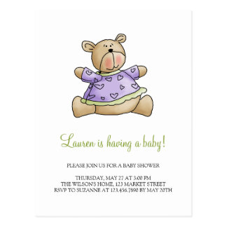 Lil' Bears · Baby Girl Purple Shirt Postcard