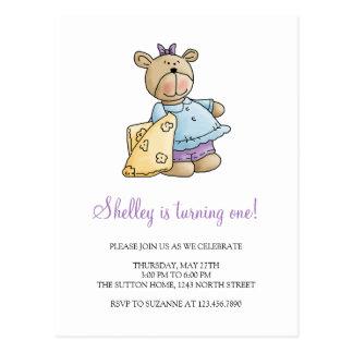 Lil' Bears · Baby Girl Yellow Blanket Postcard