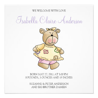 Lil' Bears · Baby Girl Yellow Dress Personalized Invitation