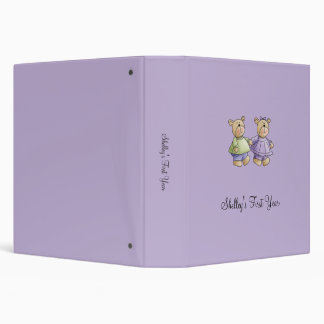 Lil' Bears · Baby Twins Green & Purple 3 Ring Binder
