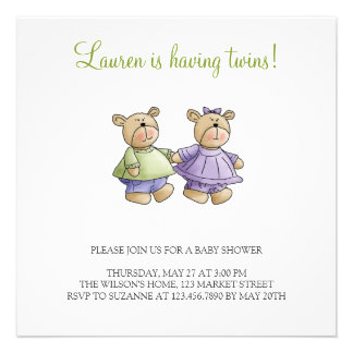 Lil' Bears · Baby Twins Green & Purple Personalized Invites