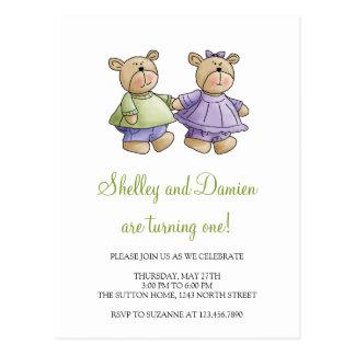 Lil' Bears · Baby Twins Green & Purple Postcard