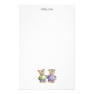 Lil' Bears · Baby Twins Green & Purple Stationery