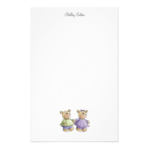 Lil' Bears · Baby Twins Green & Purple Stationery Paper