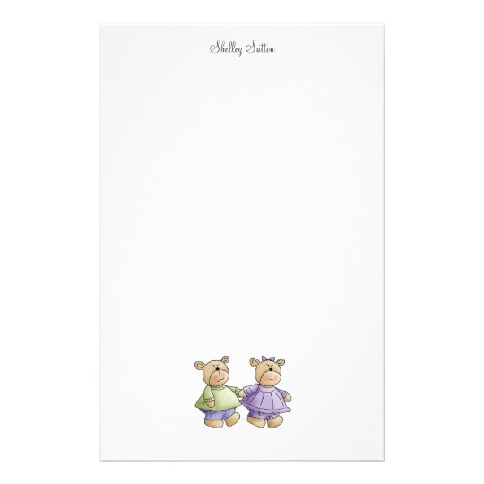 Lil' Bears · Baby Twins Green & Purple Stationery