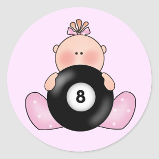 Lil Billiards Baby Girl Classic Round Sticker
