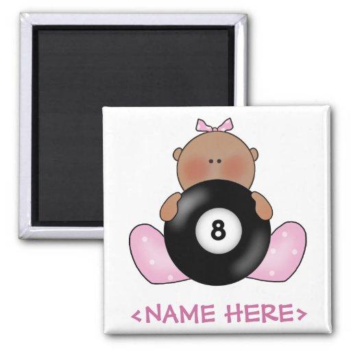 Lil Billiards Baby Girl - Girl 2 Inch Square Magnet