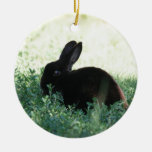 Lil Black Bunny Double-Sided Ceramic Round Christmas Ornament