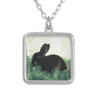 Lil Black Bunny Silver Plated Necklace