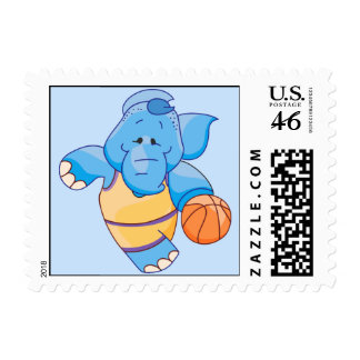 Lil Blue Elephant Basketball Postage Stamps