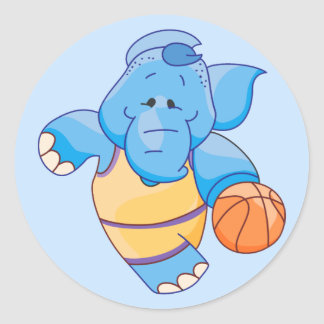 Lil Blue Elephant Basketball Classic Round Sticker