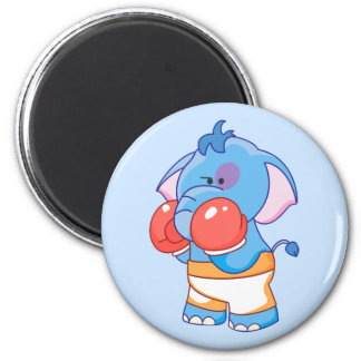 Lil Blue Elephant Boxing 2 Inch Round Magnet