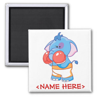 Lil Blue Elephant Boxing 2 Inch Square Magnet