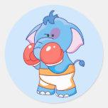 Lil Blue Elephant Boxing Classic Round Sticker