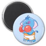 Lil Blue Elephant Boxing Refrigerator Magnet